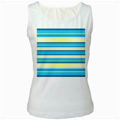 Stripes Yellow Aqua Blue White Women s White Tank Top