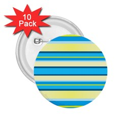 Stripes Yellow Aqua Blue White 2 25  Buttons (10 Pack)
