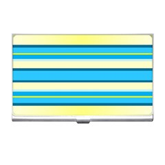 Stripes Yellow Aqua Blue White Business Card Holders