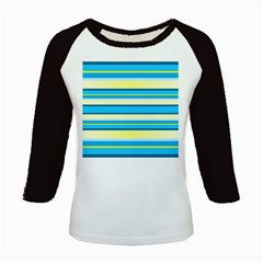 Stripes Yellow Aqua Blue White Kids Baseball Jerseys