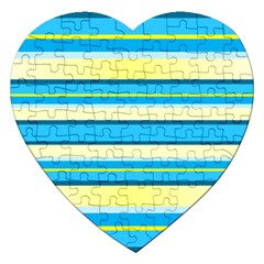 Stripes Yellow Aqua Blue White Jigsaw Puzzle (heart)
