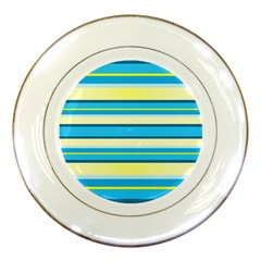 Stripes Yellow Aqua Blue White Porcelain Plates
