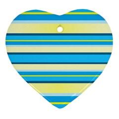 Stripes Yellow Aqua Blue White Heart Ornament (two Sides)