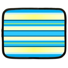 Stripes Yellow Aqua Blue White Netbook Case (xxl)