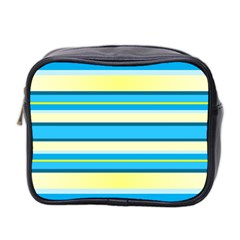Stripes Yellow Aqua Blue White Mini Toiletries Bag 2 Side