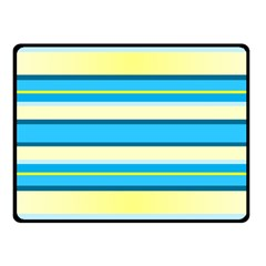 Stripes Yellow Aqua Blue White Fleece Blanket (small)