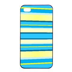 Stripes Yellow Aqua Blue White Apple Iphone 4/4s Seamless Case (black)