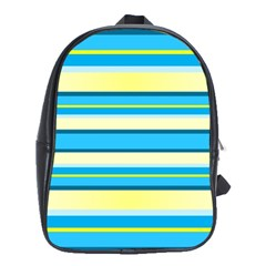 Stripes Yellow Aqua Blue White School Bag (xl) by BangZart