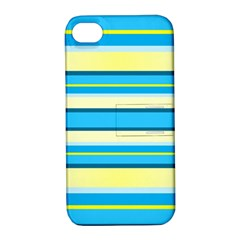 Stripes Yellow Aqua Blue White Apple Iphone 4/4s Hardshell Case With Stand
