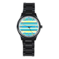 Stripes Yellow Aqua Blue White Stainless Steel Round Watch