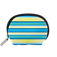 Stripes Yellow Aqua Blue White Accessory Pouches (small)