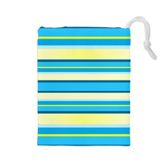 Stripes Yellow Aqua Blue White Drawstring Pouches (large)