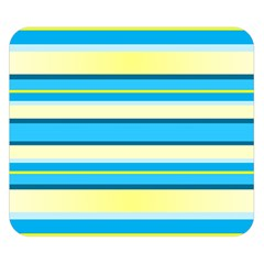 Stripes Yellow Aqua Blue White Double Sided Flano Blanket (small)