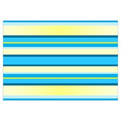 Stripes Yellow Aqua Blue White Canvas Cosmetic Bag (medium)