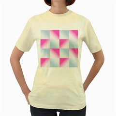 Gradient Blue Pink Geometric Women s Yellow T Shirt