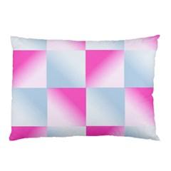 Gradient Blue Pink Geometric Pillow Case