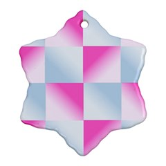 Gradient Blue Pink Geometric Snowflake Ornament (two Sides)