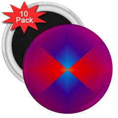 Geometric Blue Violet Red Gradient 3  Magnets (10 Pack)