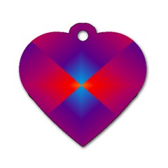 Geometric Blue Violet Red Gradient Dog Tag Heart (two Sides)