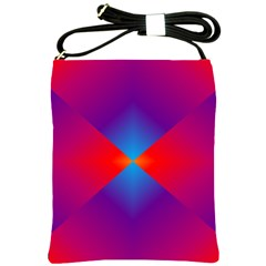 Geometric Blue Violet Red Gradient Shoulder Sling Bags by BangZart