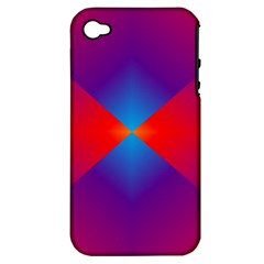 Geometric Blue Violet Red Gradient Apple Iphone 4/4s Hardshell Case (pc+silicone)