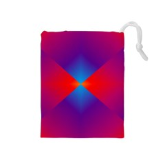 Geometric Blue Violet Red Gradient Drawstring Pouches (medium)