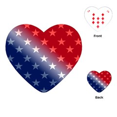 America Patriotic Red White Blue Playing Cards (heart)