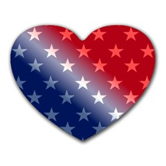 America Patriotic Red White Blue Heart Mousepads