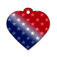 America Patriotic Red White Blue Dog Tag Heart (one Side)