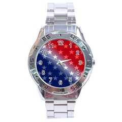 America Patriotic Red White Blue Stainless Steel Analogue Watch