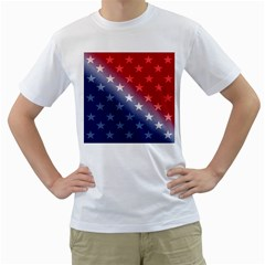 America Patriotic Red White Blue Men s T Shirt (white)