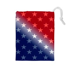 America Patriotic Red White Blue Drawstring Pouches (large)  by BangZart