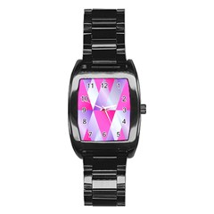 Gradient Geometric Shiny Light Stainless Steel Barrel Watch