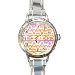 Geometric Abstract Orange Purple Round Italian Charm Watch