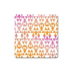 Geometric Abstract Orange Purple Square Magnet