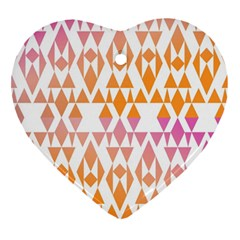 Geometric Abstract Orange Purple Heart Ornament (two Sides) by BangZart