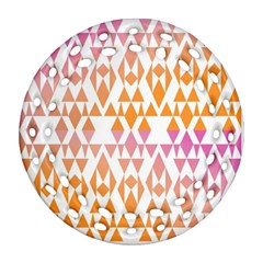 Geometric Abstract Orange Purple Ornament (round Filigree) by BangZart