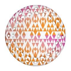 Geometric Abstract Orange Purple Round Filigree Ornament (two Sides)