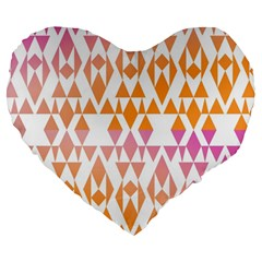 Geometric Abstract Orange Purple Large 19  Premium Heart Shape Cushions
