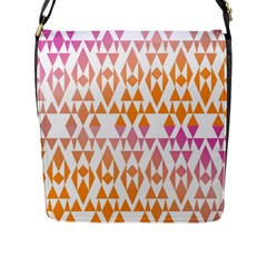 Geometric Abstract Orange Purple Flap Messenger Bag (l)  by BangZart