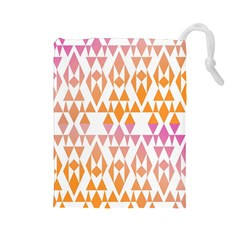 Geometric Abstract Orange Purple Drawstring Pouches (large)