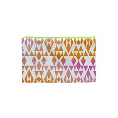 Geometric Abstract Orange Purple Cosmetic Bag (xs)