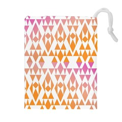 Geometric Abstract Orange Purple Drawstring Pouches (extra Large)