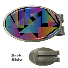 Triangle Gradient Abstract Geometry Money Clips (oval)