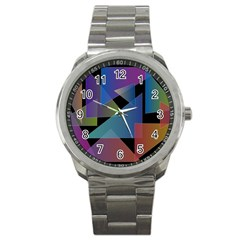 Triangle Gradient Abstract Geometry Sport Metal Watch