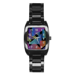 Triangle Gradient Abstract Geometry Stainless Steel Barrel Watch by BangZart