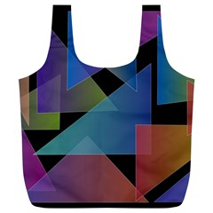 Triangle Gradient Abstract Geometry Full Print Recycle Bags (l)