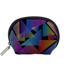 Triangle Gradient Abstract Geometry Accessory Pouches (small)
