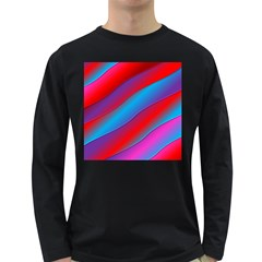 Diagonal Gradient Vivid Color 3d Long Sleeve Dark T Shirts