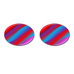 Diagonal Gradient Vivid Color 3d Cufflinks (oval)